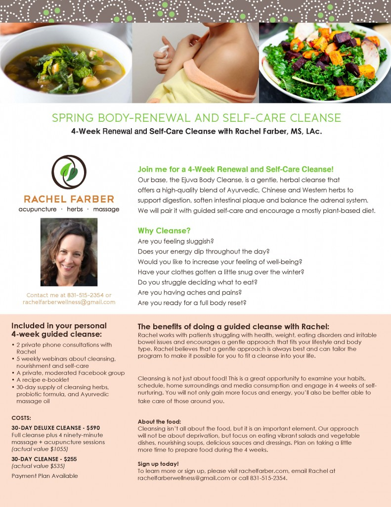 Rachel Farber Wellness CleanseFlyer-v7_Page_1-791x1024 Spring 2016 - Body-Renewal and Self-Care Cleanse  santa cruz acupuncture